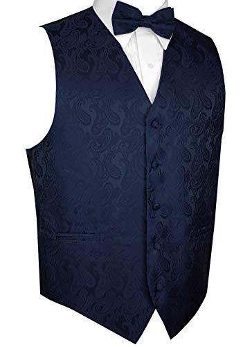 Brand Q Men's Tuxedo Vest and Bow-Tie Set-Navy Paisley-4XL