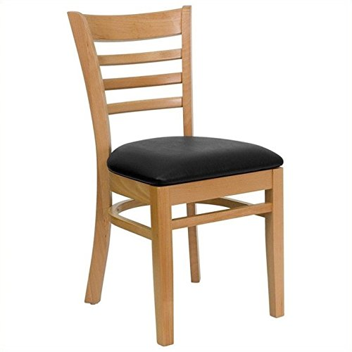 Flash Furniture HERCULES Series Ladder Back Natural Wood Restaurant Chair - Black Vinyl Seat