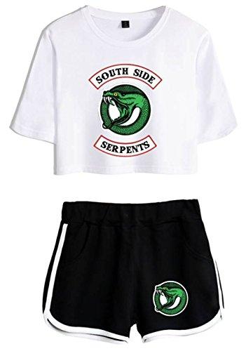shirt Per Riverdale Crop T Ragazze Seraphy bianca 4890 Top nero Donne E ZEaqxwY