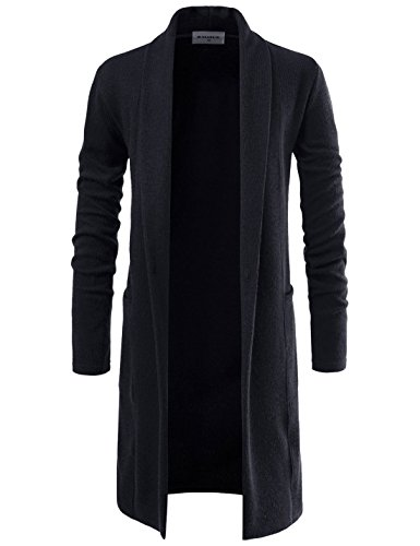 NEARKIN NKNKTNC803 Mens Slim Cut Look Knitwear Shawl Collar Long Cardigan Sweater Black US L(Tag Size L)