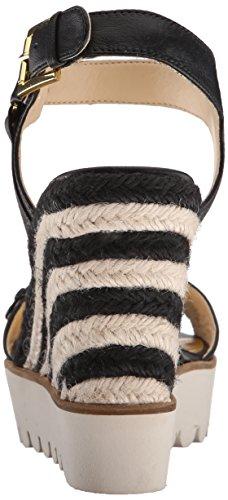 Aprilshower Nine West Sandal Leather Wedge Women's Black qqFB7PEx