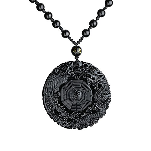 (Omonic 100% Natural Black Obsidian Pendant Necklace Dragon Phoenix with Chain for Lucky and Protection)