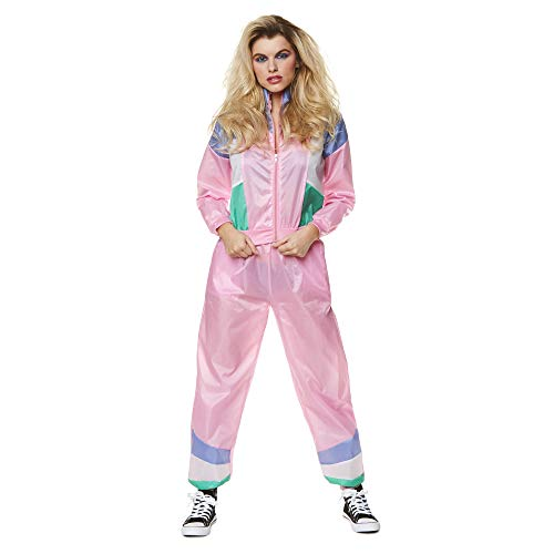 80s Shell Suit – 1980s Women's Fashion Tracksuit Halloween Costume, Pink, XS -