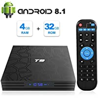 T9 Android 8.1 TV Box 4GB DDR3 RAM 32GB ROM RK3328 Bluetooth 4.0 Quad-Core Cortex-A53 64 Bits Support 2.4GHz WiFi 4K 3D Ultra HD HDMI H.265