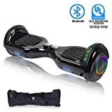 "SWEETBUY Hoverboard UL 2272 Certified 6.5"" Two-Wheel Bluetooth Self Balancing Electric Scooter with LED Light Flash Lights Wheels Black (Free Carry Bag)"