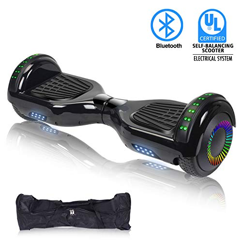"- SWEETBUY Hoverboard UL 2272 Certified 6.5"" Two-Wheel Bluetooth Self Balancing Electric Scooter with LED Light Flash Lights Wheels Black (Free Carry Bag)"