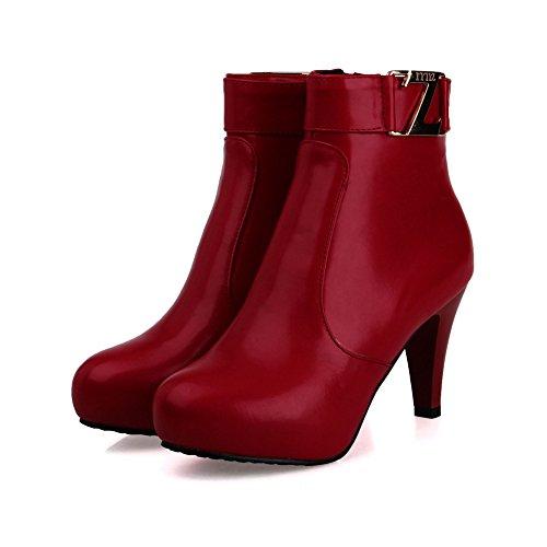Mode Hak Damesschoenen Stiletto Hoge Hak Veter Enkellaars Met Bont Bordeaux Rood