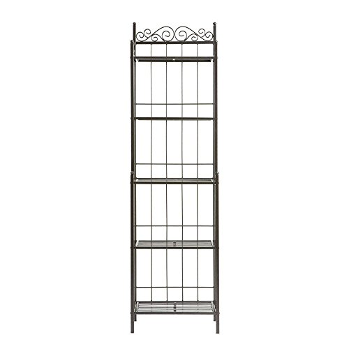Celtic 19.25 In. W Baker's Rack in Gunmetal, Durable Metal Construction with Intricate Detailing by Southern Enterprises