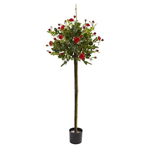 Nearly Natural 5465 3ft. Rose Topiary Silk Trees Red