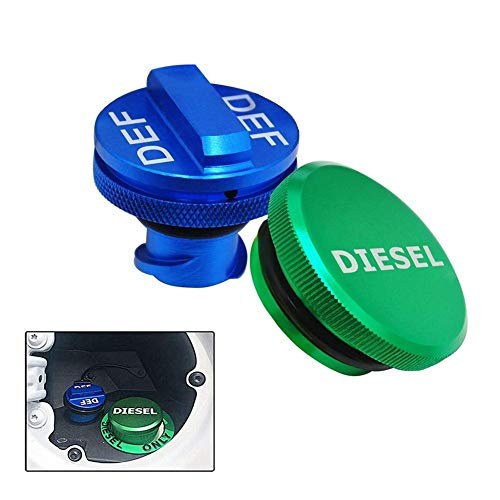 Aluminum Fuel Cap Combo Pack,Diesel Fuel Cap for Dodge - Magnetic Green Diesel Fuel Cap and Non-magnetic Blue DEF Cap for 2013-2018 Dodge Ram Diesel Trucks 1500 2500 3500 ...