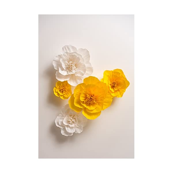 KEY SPRING Paper Flower Decorations, Large Crepe Paper Flowers (Yellow, White, Set of 5), Handcrafted Flowers for Wedding Backdrop, Nursery Wall Decor, Bridal Shower, Baby Shower