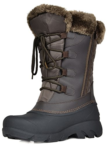 DREAM PAIRS Women's Linx Brown Faux Fur Lined Mid Calf Winter Snow Boots Size 10 M US (Faux Fur For Boots)