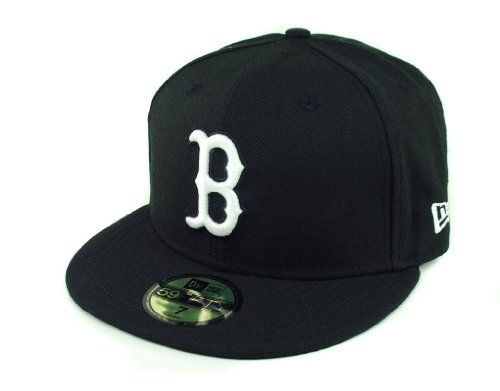 MLB Boston Red Sox Black with White 59FIFTY Fitted Cap, 7 (Logo 59fifty Fitted Cap)