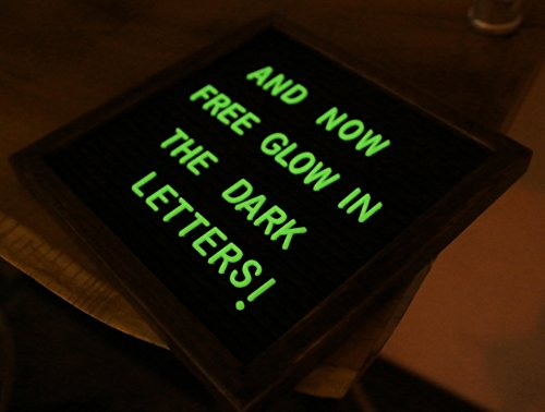 Letter Board Premium Felt 10x10 Wooden - 346 White/Glow in the Dark Letter and Emojis, Durable Canvas Bag, Sturdy Wall Mount, Beautiful Dark Finished Oak Frame, Perfect for Home and Office Photo #3