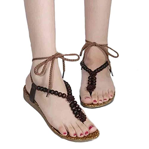 Fullkang Shoes Beaded Sandals Drawstring Bohemia Flat Brown Sandals for Beach Women Women 4nvqYtF8xw
