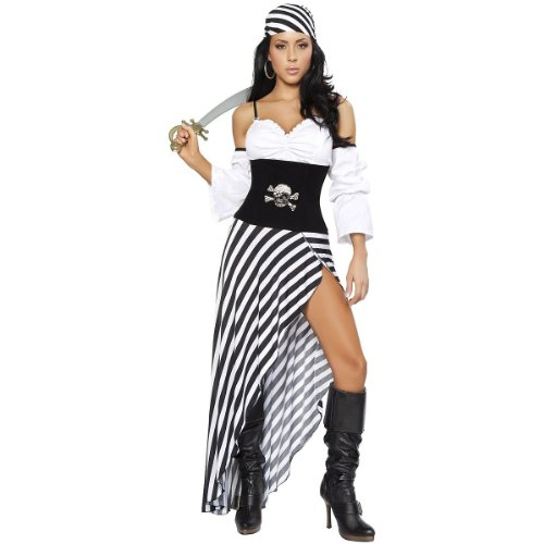 Roma Costume 6 Piece Pirate Lass Costume, Black/White, Medium (Adult Female Pirate Costume)