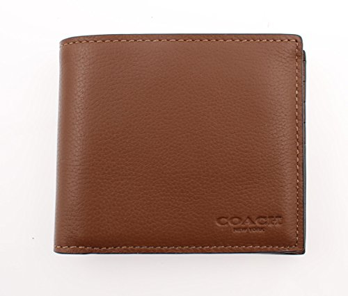 Coach Compact Wallet Leather Saddle