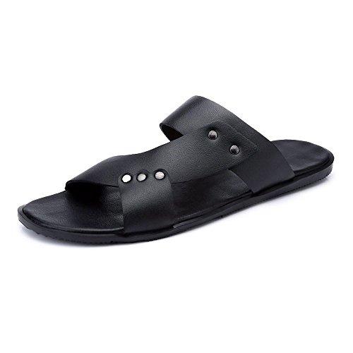 Negro Caballeros de Sandalias para Planas Cuero Playa PU Sandalias Antideslizantes Ocasionales Zapatillas Negras de wdY0OqfxqB