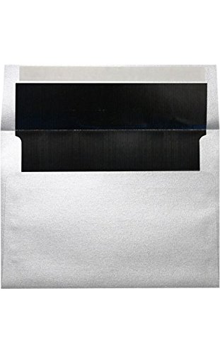 Black Lux Lining - A7 Foil Lined Invitation Lined Envelopes w/Peel & Press (5 1/4 x 7 1/4) - Silver w/Black LUX Lining (50 Qty.) | Perfect for Invitations, Announcements, Sending Cards, 5x7 Photos | 60lb. Paper