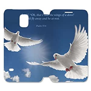 Christian Bible Verse Phone Case for Samsung Galaxy S5, I Said,Oh,that I Had the Wings of a Dove!I Would Fly away and be at Rest.Psalm 55:6 Photo Custom Folder Case, Christian Bible Quotes - Plastic Case and High Grade PU Leather Flip Cover