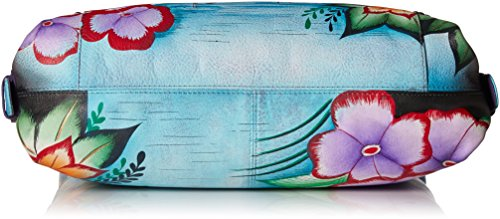Hand Women'S Painted Flamingos Tropical Shoulder Leather Anna Hobo Anuschka 5Aaq66