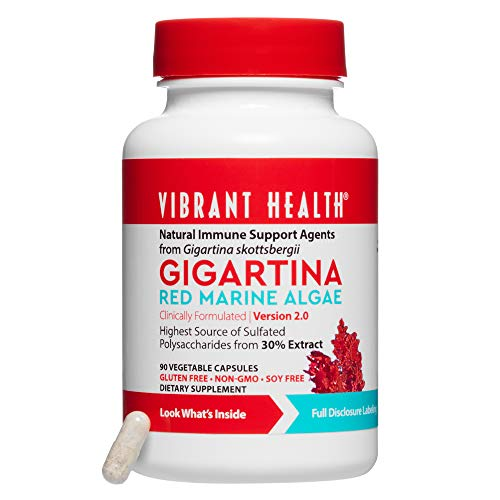 (Vibrant Health - Gigartina Red Marine Algae, Natural Support for Immune Function and Healing, Gluten Free, Dairy Free, Non-GMO, Vegetarian, 90 Count (FFP))