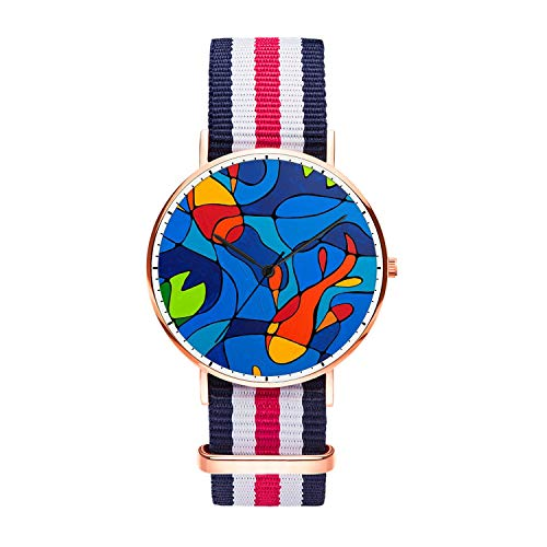 Customized Colorful Goldfish Wrist Watch, Blue White Red White Blue Nylon Watch Band Rose Gold Dial Plate Men 40mm Fashionable Wrist Watch for Men