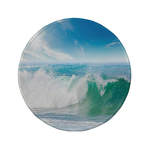 Non-Slip Rubber Round Mouse Pad,Wave,Summer Vacation Theme Seascape with Wave and Clear Sky Travel Surf Decorative,Light Blue Fern Green White,11.8