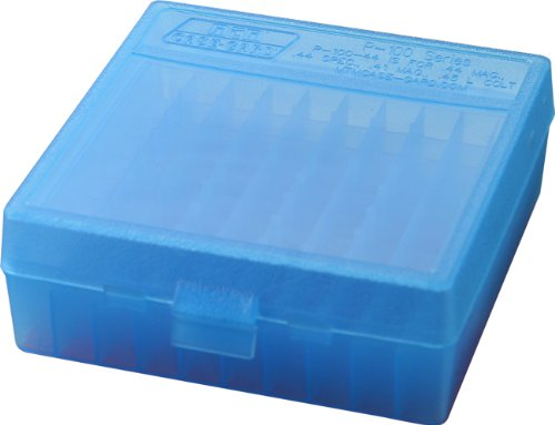 Top Ammo Box - MTM 100 Round Flip-Top Ammo Box 41/44 Cal (Clear Blue)