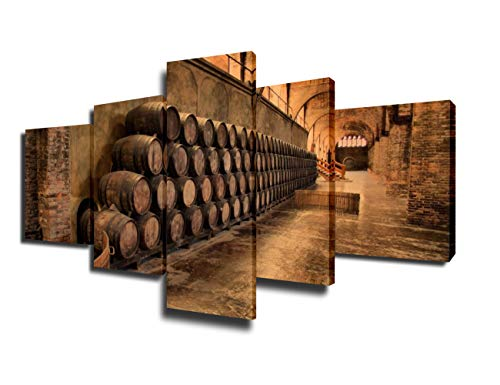 TUMOVO House Decorations Living Room Barrels for Maturing Red Wine Pictures 5 Piece Printed on Canvas Wall Art Contemporary Artwork Retro Painting Framed Gallery-Wrapped Ready to Hang(50''W x 24''H) - Toscana Wine French