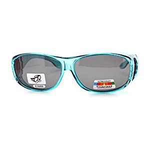Womens Polarized Fit Over Glasses Rhinestone Sunglasses Oval Rectangular Teal