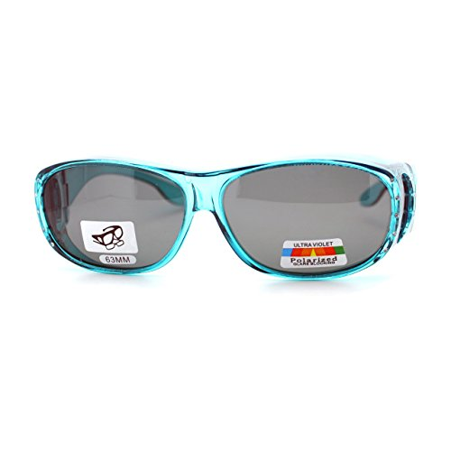 Womens Polarized Fit Over Glasses Rhinestone Sunglasses Oval Rectangular Teal