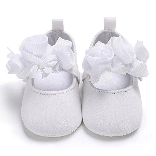 Eozy Baby Mädchen Festliche Blumen Taufschuhe Weiche Sohle Weiße Babyschuhe Lauflernschuhe