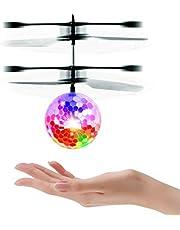 UTTORA Pelota voladora Flying Ball Crystal Intermitente LED RC Juguete de inducción infrarroja Helicóptero Mini Drone para niños Classic Transparente