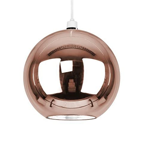 Stunning Modern Copper Rose Gold Effect / Brown Glass Ball Ceiling Pendant  Light Shade.