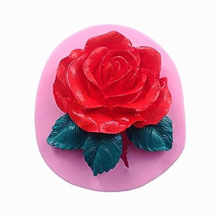 Moldes de Pastel de Silicona 3D en Forma de Flor Rosa Grande Fondant Herramientas de Pastel
