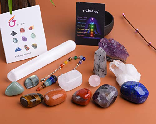 JIC Gem 14 Pcs Healing Crystals for Chakra Balancing: tumbles Stones,Crystal Quartz Pendulum, Amethyst Cluster, Raw Rose Quartz Ball, Black Tourmaline Quartz, Irregular Labradorite