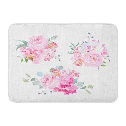 OUTDRART Bath Mat Gentle Mix of Pink Bouquets Rose Alstroemeria Lily White Peony Hydrangea Eucalyptus Plants and Herbs Bathroom Decor Rug 16