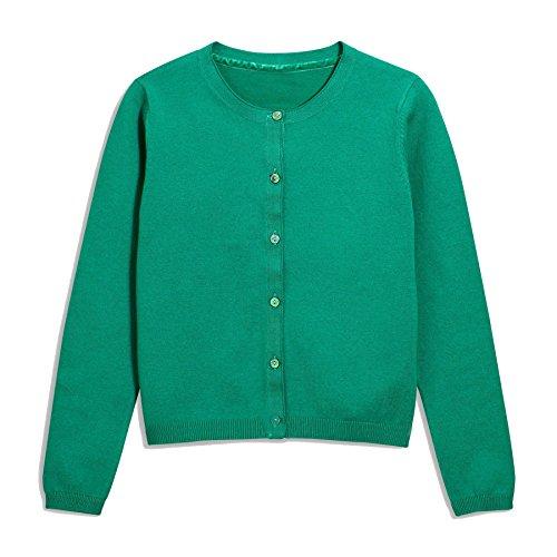 Khanomak Kids Girls Crew Neck Cardigan Sweater (Size 9/10, Green) Green Cotton Cardigan Sweater