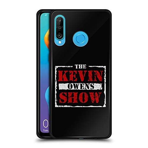 Official WWE The KO Show Kevin Owens Black Hybrid Glass Back Case Compatible for Huawei P30 Lite ()