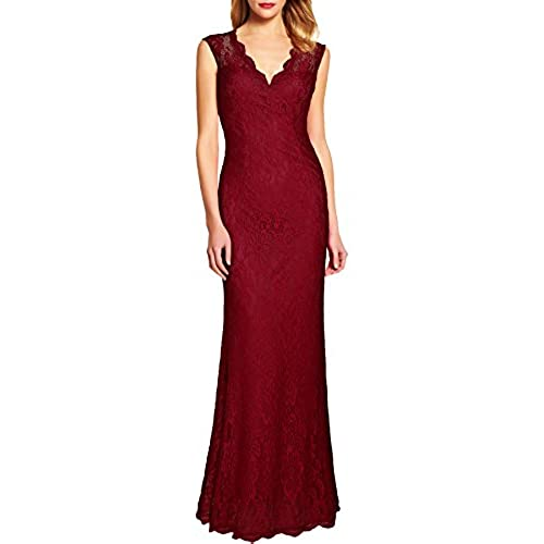 WOOSEA Womens Retro Floral Lace Vintage Wedding Maxi Bridesmaid Long Dress (XX-Large, Burgundy)
