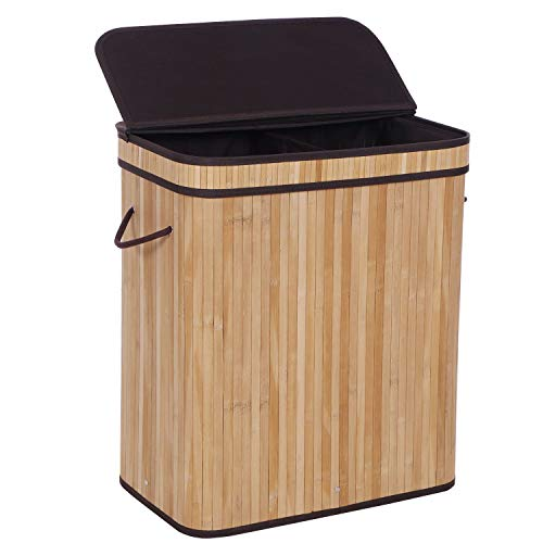 BEWISHOME Dirty Clothes Bin,Divided Bamboo Laundry Hamper with Lids, Modern Laundry Baskets with Handles and Removable Liner, Double Hamper Storage Bin, Covered Laundry Hamper, Natural YYL03Y -