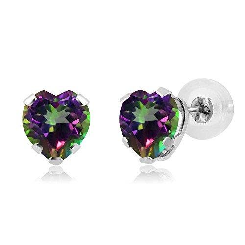 - 1.20 Ct Heart Shape Green Mystic Topaz 14K White Gold 5-prong Stud Earrings 5mm