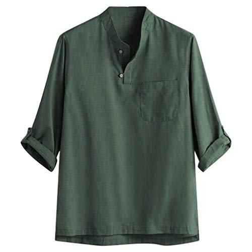 SFE Men's able Pure Cotton and Hemp Seven-Cent Blouse Top Casual Party Holiday Summer Fashion New 2019 Green