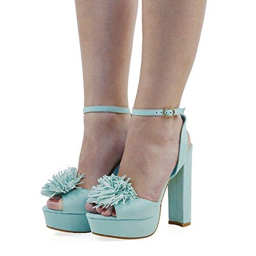 Essex Glam Womens Ankle Strap Pastel Blue Faux Suede Block Heel Open Toe Fringe Sandals 9 B(M) US