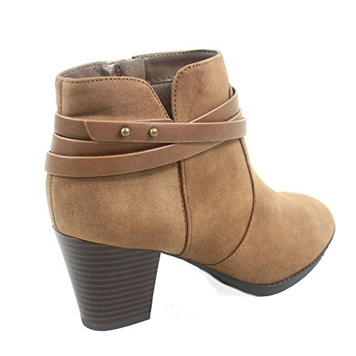 City Classified Cityclassified Dian-s Womens Fashion Almond Toe Straps Western Chunky Heel Boots Shoes Brown 3HEG86g
