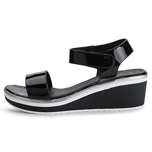 alla Leroy Donna Nero Zeppa Caviglia con Elegante Sandali Cinturino Alexis xqB8YwR7Y