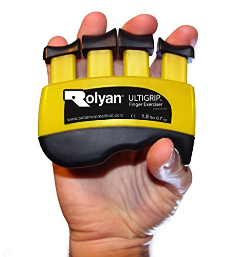 Rolyan Ultigrip Finger Exercisers, Yellow, 1.5-Pounds, Finger & Grip Strengthener for Physical Therapy, Ergonomic Hand Workout Aid, Portable Hand Exerciser for Home, Clinic, & Rehabilitation by Rolyan
