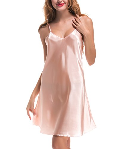 ADORNEVE Women Sexy Strap Lingerie Satin Pajamas Slip Nightshirt, Pink, Medium