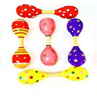 Spaufu Colorful Wooden Rattles Double-Headed Sand Hammer for Babies Kids Music Shake Barbell Educational Toy Random Color Small Size 1pack